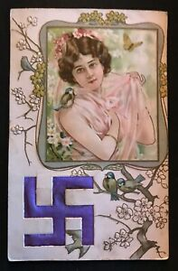 Greeting-Art-Nouveau-Silk-SWASTIKA-Good-Luck-Symbol-Pretty-LADY-Antique-Postcard