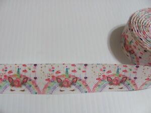 By The Yard 1  Inch Pink Printed Magic Unicorn Grosgrain Ribbon  Lisa