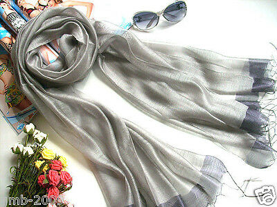 Classic New Men's Women's Silver True Silk And Flax Long Wrap Shawl Scarf