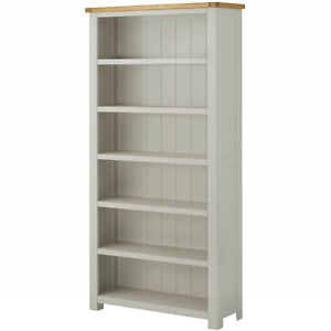 Image Is Loading Padstow Grey Painted Large Oak Bookcase Solid Wood