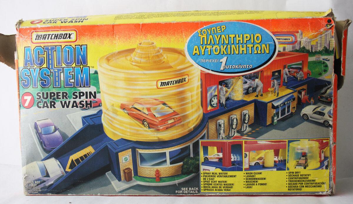 Sistema de acción rara Vintage 1996 Matchbox súper Spin Conjunto de Juego de lavado de coches  nuevo