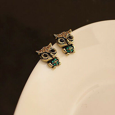 Fashion Women Lady Girl Retro Owl Rhinestone Retro Ear Studs Lovely Earrings Hot