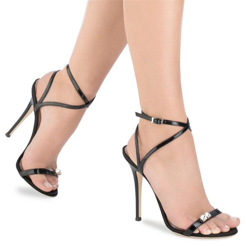 Para Mujeres Puntera Abierta y Correa Tacones en el tobillo Tacones Correa Altos Fiesta Zapatos Sandalias de Diamantes de Imitación Tacones de aguja 91a559