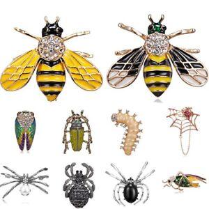 125bca8e29c Image is loading Fashion-Bee-Insect-Animal-Rhinestone-Pearl-Costume-Brooch-