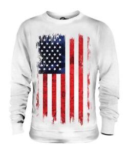 765fd2bf3ed STARS AND STRIPES GRUNGE FLAG UNISEX SWEATER TOP USA US UNITED ...
