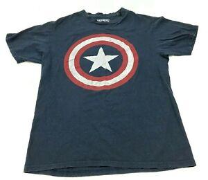 MARVEL-Captain-America-Shirt-Size-Medium-MD-Blue-Short-Sleeve-Graphic-Hero-Tee