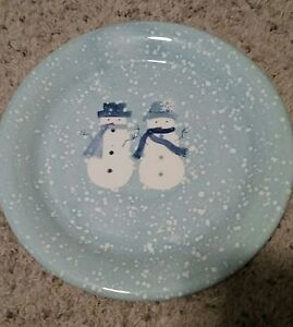 Home-WINTER-FROST-8-1-4-034-Snowmen-Salad-Plates-Set-s-of-4