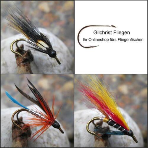 Meerforellenfliegen 3 von einem Muster /& Gr. Zwillingshaken GILCHRIST FLIEGEN