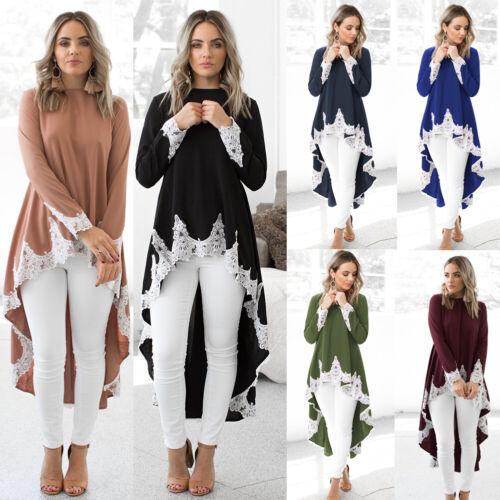 Womens Long Sleeve Irregular Lace Long Shirt Blouse Low Tunic Dress Tops Hot US