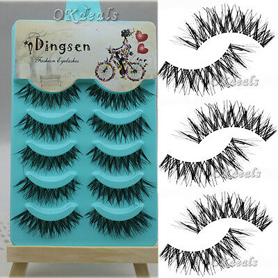 New 5 Pairs Natural Soft Eye Lashes Makeup Handmade Thick Fake False Eyelashes *