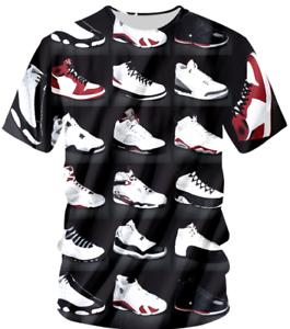 49b486b4591 New Cool Michael Jordan Shoes 3D T-shirt Black Men Summer Style Size ...