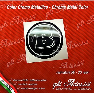2 Adesivi Resinati Sticker 3D BRABUS Smart 30 mm Nero e Argento GEL