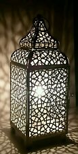 DISTRESSED IVORY CREAM MOROCCAN LANTERN METAL ELECTRICAL TABLE LAMP NEW
