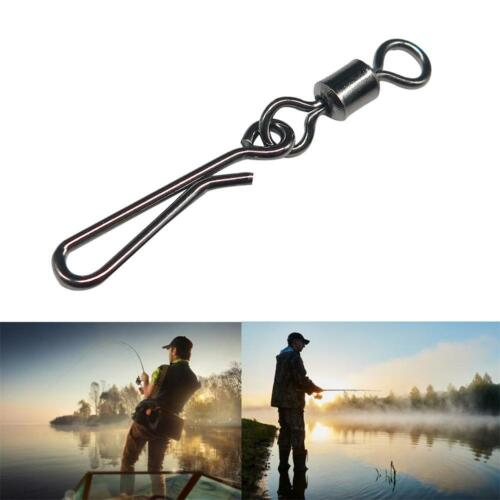 50pcs//lot Rolling Swivel With Hanging Snap Fishing Tackle Fishhooks Connector