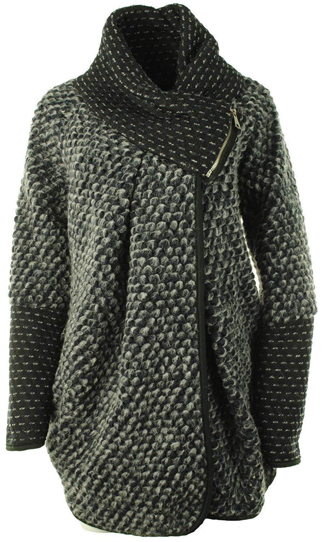 Ladies Wool Mix Cocoon Lagenlook Coatigan Jacket Coat OSFA 12 14 16 18 20 22