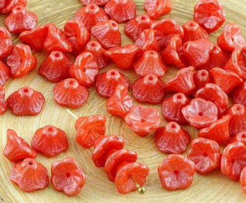 40pcs Shine Czech Glass Small Bell Flower Bead Caps 7mm x 5mm