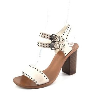 Image is loading Matisse-Sally-White-Studded-Leather-Ankle-Strap-Sandals-