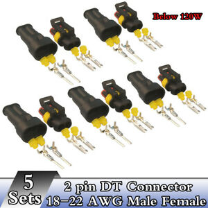 5-Sets-2-Pin-DT-Connector-Kit-18-22-AWG-Male-amp-Female-For-Work-Light-below-120W
