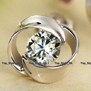 925-Sterling-Silver-Crystal-flower-Stud-earrings-CZ-Cubic-Zirconia-Xmas-Gift-Mum