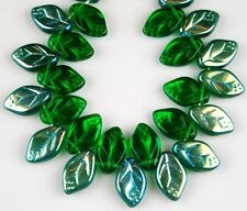 25 PCS Czech Leaf Green AB Pressed Loose Glass Beads Jewelry Craft 7x12mm