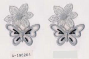 Lot-2-Fleur-Gris-Broderie-Papillon-Applique-Patch