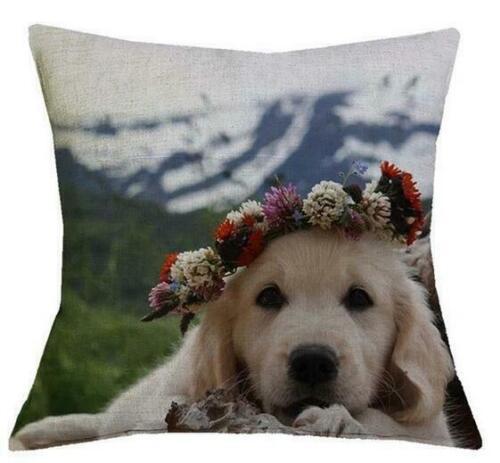 "18/""Cushion Cover Golden Retriever Linen Pillows Dog Printed Sofa Home Decoration"