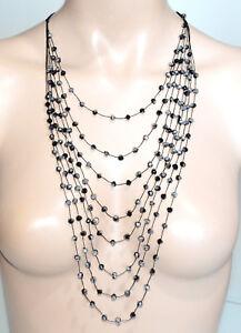 grande qualité Vente choisir le plus récent Détails sur LONG COLLIER noir multi fils femme pierres cristaux gris argent  ras du cou BB8