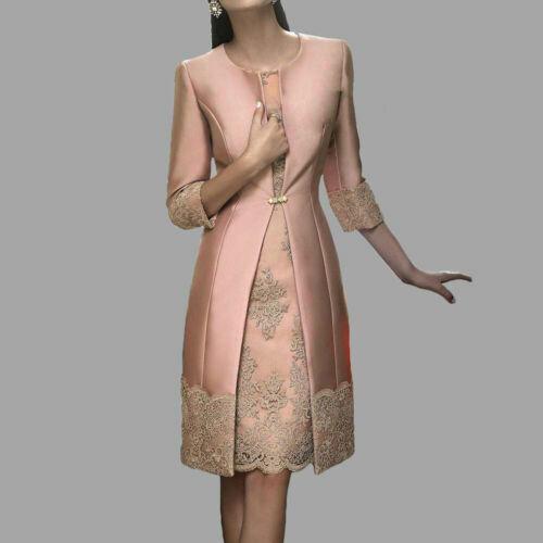 Details about  /4XL Ladies Satin 3//4 Sleeves Jacquard Lace Coat Dress 2Pcs Bride Dresses kk00