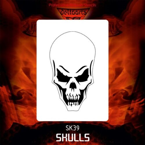 Airbrush stencil template DELTAARTS SKULL 39-4 SIZES AVAILABLE MINI MID