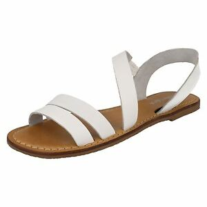 SALE Leather Collection F0936 Ladies White Leather Summer Gladiator Sandals