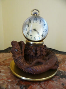 Exceptional-Antique-Big-Crystal-Ball-Clock-On-Carved-Dragon-Base