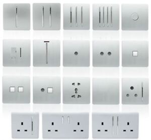 Trendi-Switch-Silver-Designer-Lightswitches-Plug-Sockets-Fused-Spurs-TV-Phone