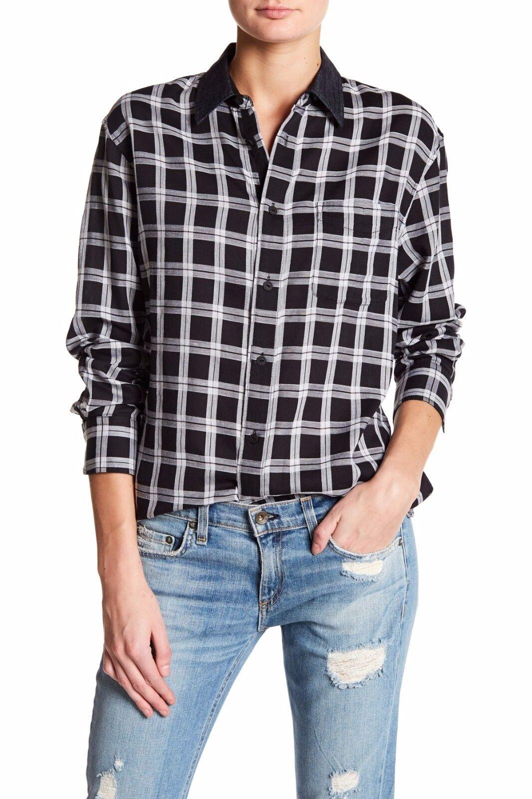 Rag & Bone Plaid Boyfriend Shirt Top Größe XS Neuf Avec Étiquettes 195