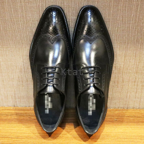 Luxury Men Handmade Real Leather Brogue Lace up Wedding Formal Shoes Oxford Size