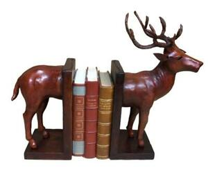 Handmade-Leather-Bookends-in-the-form-of-a-Stag-37cm-High
