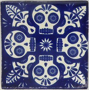 Handmade Mexican Tile Sample Talavera Clay X Tile C Blue - 4 inch mexican tile