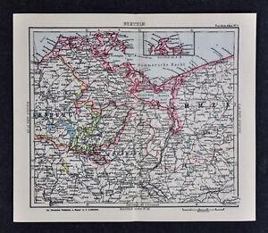 Pommern Germany Map.C1925 Taschen Atlas Map Germany Stettin Pommern Mecklenburg