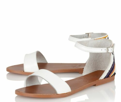 Multi Beaded Leather Low Heel New Sandals Ravel Wichita UK 5 /& 7 Women/'s White