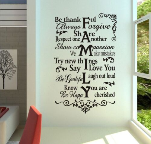 Hand Carving FAMILY Wall Quote Art Vinyl Wall Sticker Wall Decals UK 115