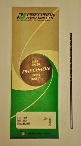 """Precision Twist Drill #35 .1100/""""  2.794mm HSS Taper Length Drill 6 pcs New USA"""