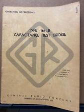 General Radio Instruction Manual Gr 1611 B Capacitance Test Bridge Service User
