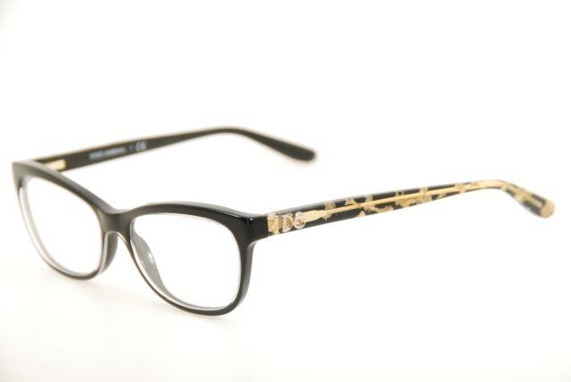 New Authentic Dolce & Gabbana DG 3221 2917 Black/Gold 53mm Eyeglasses Frames RX