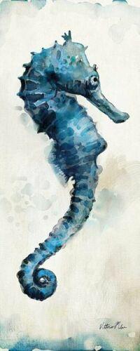 Watercolor Seahorse I Keilrahmen-Bild Leinwand Seepferdchen blau Vittorio Milan
