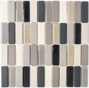 Détails sur Mosaïque céramique beige clair baguettes gris verre mur  24-CUSTG61_f |10 plaques