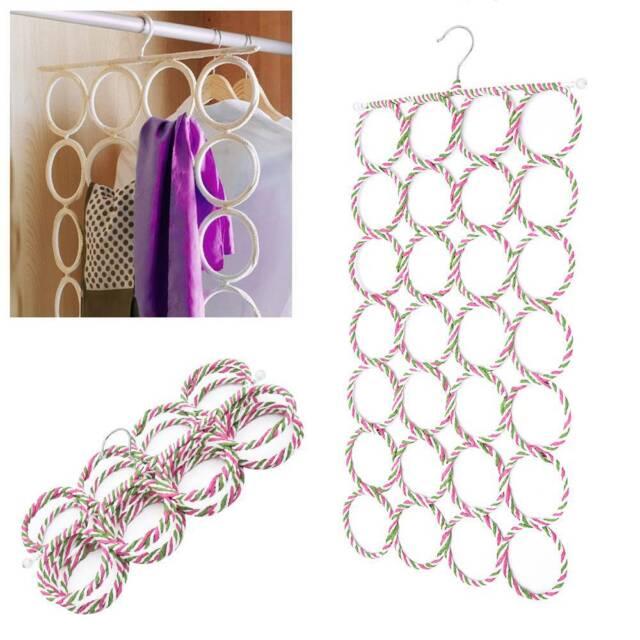 28-hole Ring Hook Rope Storage Hanger Organizer Slots Holder Scarf Wraps JD