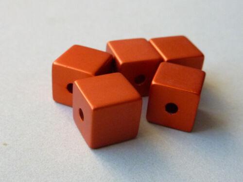5 Aluminium Alu Würfelperlen eloxiert 8 mm 2555