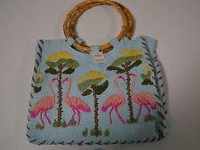 Fashion Shoulder Bag Purse HandBag Blue with Flamingo Print NWT