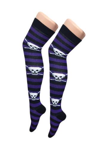 New Over The Knee Pumpkin Rock Skull Skeleton Halloween Socks Sock thigh high