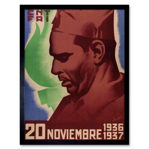 War Spanish Civil Propaganda Fai Cnt Anarchist Spain Durruti Retro Framed Print