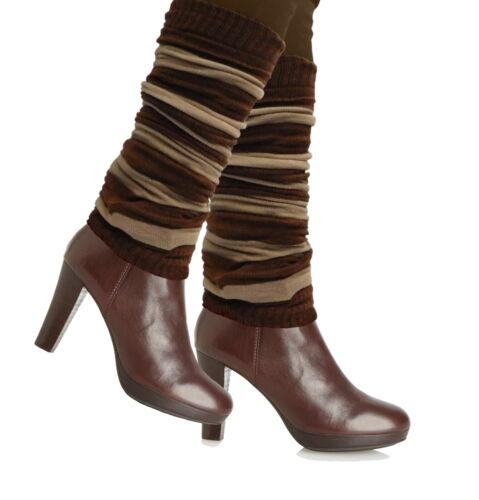 Winter Warm Long Leg Warmers Thin Boots Toppers Striped BEIGE BROWN Dance Ballet